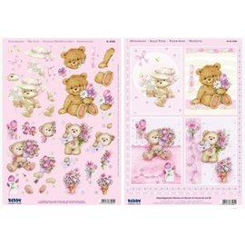 Bilder, 3D Bilder und ausgestanzte Teile usw... A4 punch sheet 3D + 1 background sheet: bear with flowers
