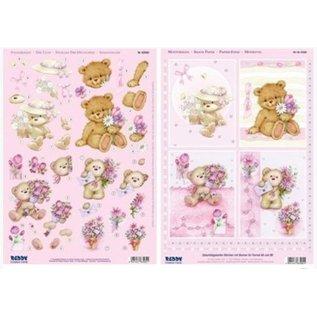 Bilder, 3D Bilder und ausgestanzte Teile usw... A4 Stanzbogen 3D + 1 Hintergrundbogen: Bären mit Blumen