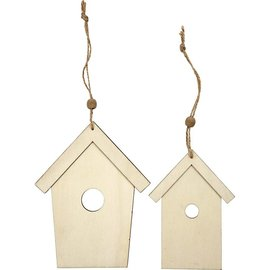 Holz, MDF, Pappe, Objekten zum Dekorieren ornamento Wood, 2 Vogelhäuser, H: 13 + 17,5 cm, espesor: 5 mm