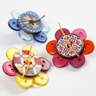 Embellishments / Verzierungen Holze Dekoknöpfe, D: 20 mm, 8 Stück sortiert