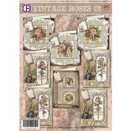 BASTELSETS / CRAFT KITS Compleet kaart voor 8 kaarten Vintage Roses!