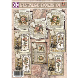 BASTELSETS / CRAFT KITS Complete card set: for 8 cards, Vintage Roses!