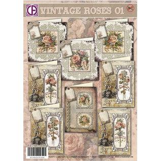 BASTELSETS / CRAFT KITS Komplet Card Sæt til 8 kort Vintage Roses!