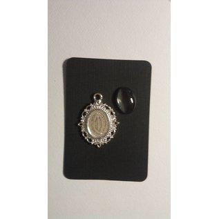 Embellishments / Verzierungen 1 Charm mit 1 Glas Cabochon