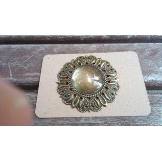 Embellishments / Verzierungen 1 Charm in vintage look with 1 glass cabouchon