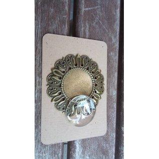 Embellishments / Verzierungen 1 Charm i Vintagelook med 1 glas Cabouchon