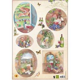 Bilder, 3D Bilder und ausgestanzte Teile usw... folha A4 de fotos: Vinho e uvas