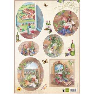 Bilder, 3D Bilder und ausgestanzte Teile usw... foglio A4 di immagini: Vino e l'uva