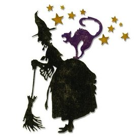 Sizzix Stamping templates: Haloween witch with cat