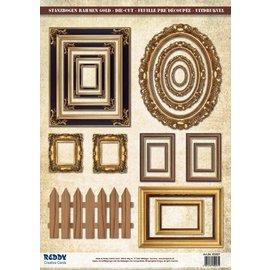 Embellishments / Verzierungen Stansvellen fotolijstjes, met goud 17 delen