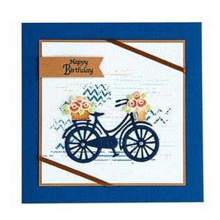 Leane Creatief - Lea'bilities Modèle de poinçonnage: vélo avec des fleurs