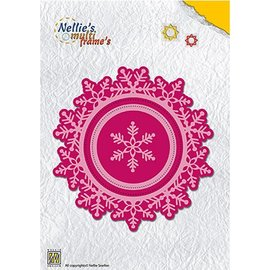 Leane Creatief - Lea'bilities Stamping template: snowflake and wreath