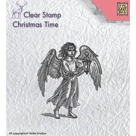 Stempel / Stamp: Transparent timbro trasparente: Angelo con lampada
