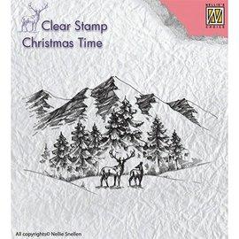 Stempel / Stamp: Transparent Duidelijke, transparante stempel: Winterlandschap met herten