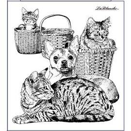 LaBlanche Stamp Lablanche: dog and cat