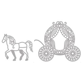 Marianne Design Stanzschablone: Filigrane Pfrede mit Kutsche