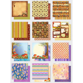 Designer Papier Scrapbooking: 30,5 x 30,5 cm Papier Papir blok: Premium Glitter alfer / Imp, størrelse: 30.5 x 30,5 cm