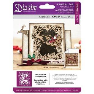 Crafter's Companion Stansning skabelon: Opret et kort, Schlitte med rensdyr, julemand og dekorativ ramme