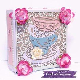 Crafter's Companion Ponsen sjabloon: Maak een kaart, Tea Party