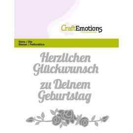 Crealies und CraftEmotions Stansning skabelon: Tekst: Tillykke (DE) med Rose Design