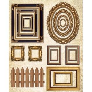 Objekten zum Dekorieren / objects for decorating caixa de madeira plana, com molduras + 1 folha de moldura com efeito de ouro metálico!