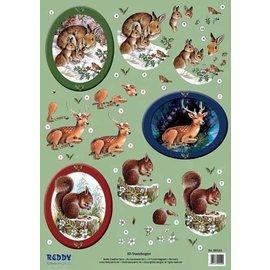 Bilder, 3D Bilder und ausgestanzte Teile usw... 3D-Stanzbogen Waldtiere, Hasen, Rehe, Eichhörnchen