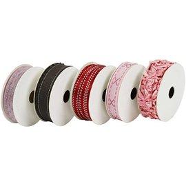 DEKOBAND / RIBBONS / RUBANS ... Dekoband SET, los tonos de color rosa / rojo