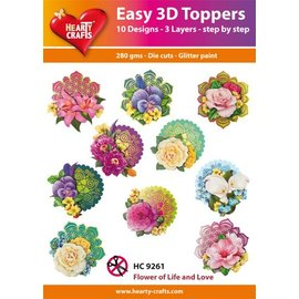 Bilder, 3D Bilder und ausgestanzte Teile usw... 3D Easy Toppers: Flowers + 3D Adhesive Pads! met productvideo!