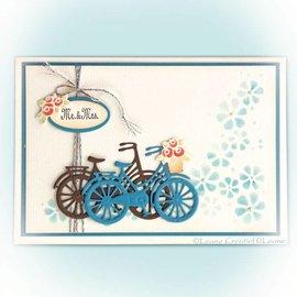 Leane Creatief - Lea'bilities Ponsen sjabloon: fiets met bloemen