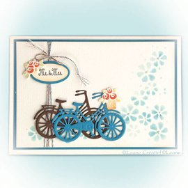 Leane Creatief - Lea'bilities und By Lene Stansning skabelon: cykel med blomster