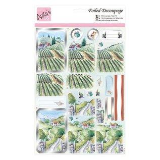 Bilder, 3D Bilder und ausgestanzte Teile usw... Stitching sheet A4 with metallic effect: vine field