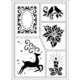 Schablonen, für verschiedene Techniken / Templates Flexible stencils, A5, Christmas motifs