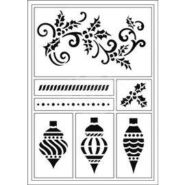 Schablonen, für verschiedene Techniken / Templates Flexible Stencils, A5, Weihnachts kugeln und Schnorkel