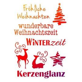 Schablonen, für verschiedene Techniken / Templates Universele sjablonen A4, temas de Natal + escritos alemães