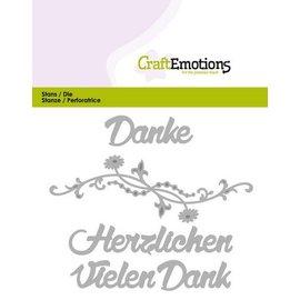 Crealies und CraftEmotions dies de coupe: Merci (DE) Carte 11x9cm