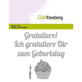 Crealies und CraftEmotions Cutting & Embossing: Tillykke med fødselsdagen (DE) kort 11x9cm