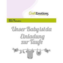 Crealies und CraftEmotions Stanzschablonen:Unser Baby ist da (DE) Card 11x9cm