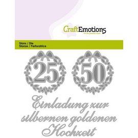 Crealies und CraftEmotions Stanzschablonen:Einladung 25 50 Hochzeit (DE) Card 11x9cm