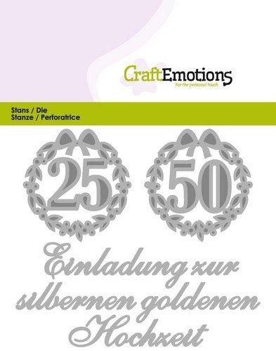 Crealies Und CraftEmotions Cutting U0026 Embossing: Einladung 25 50 Hochzeit  (DE) Kaart 11x9cm