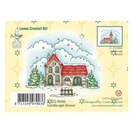 Leane Creatief - Lea'bilities Stamp, Winterlandschap huis