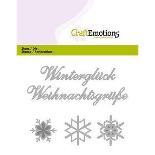 Crealies und CraftEmotions Cutting & Embossing: Winter Glück (DE) kort 11x9cm