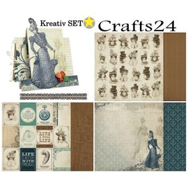 Designer Papier Scrapbooking: 30,5 x 30,5 cm Papier Kreativ SET No.1: Couture Collection + 1 + 1 baggrundskort tip Dekoband!