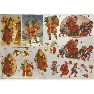 Bilder, 3D Bilder und ausgestanzte Teile usw... Dufex 3D-Stanzbogen, Weihnachtsmänner nostalgisch