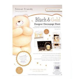 Forever Friends DESIGNER DECOUPAGE SHEET - BLACK & GOLD