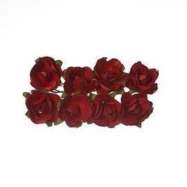 Embellishments / Verzierungen 8 Papir Flower, røde roser