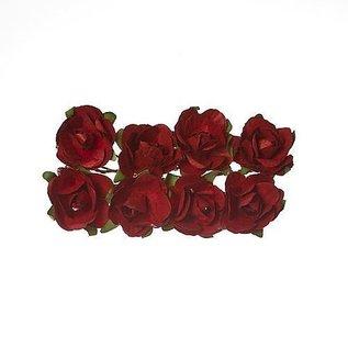 Embellishments / Verzierungen 8 di fiori di carta, rose rosse