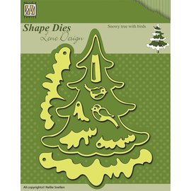 Nellie Snellen Punching templates: Christmas tree with snow