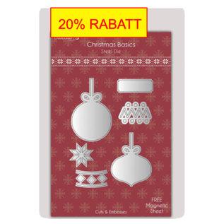 Spellbinders und Rayher Ponsen en embossing sjabloon: De bal van Kerstmis