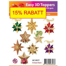 Bilder, 3D Bilder und ausgestanzte Teile usw... proyecto de Navidad! 10 estrellas navideñas en 3D con purpurina!