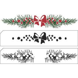 Nellie Snellen Transparant / Clear Stamp: Gelaagde zegel met de grens van Kerstmis positie